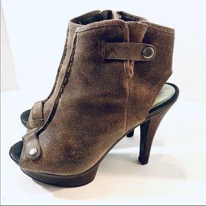 Fergalicious Gaucho Leather Peep Toe Heels Sz 8.5